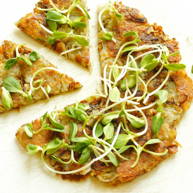 11. Leek and Potato Galette : A garnish of punchy leaves of watercress ...