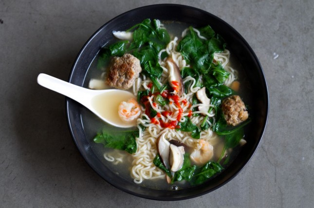Ramen with Shrimp and Meatballs : Spruce up a few packs of instant ...
