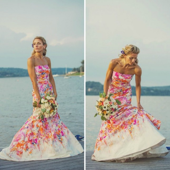 18 colorful wedding dresses for the non traditional bride for Floral wedding dresses with color