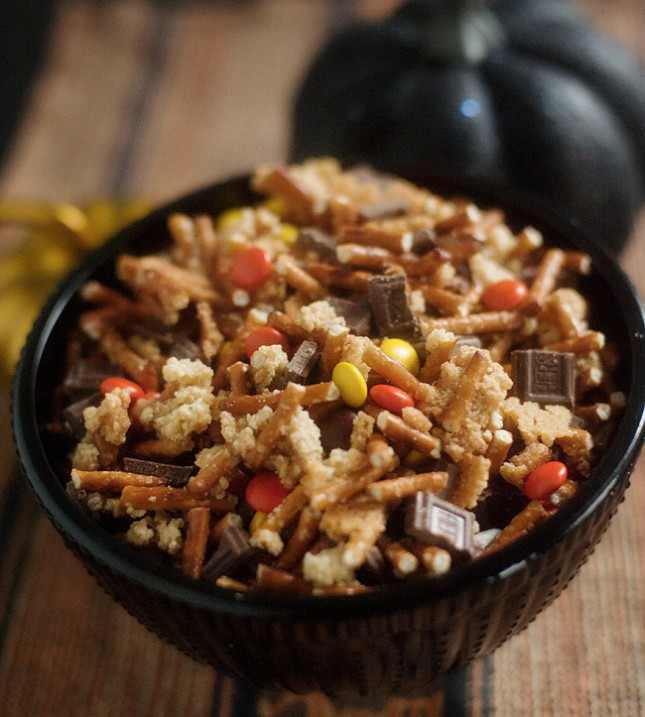 Spookalicious Snack Mix : Coating pretzel sticks in a crisp sugar ...