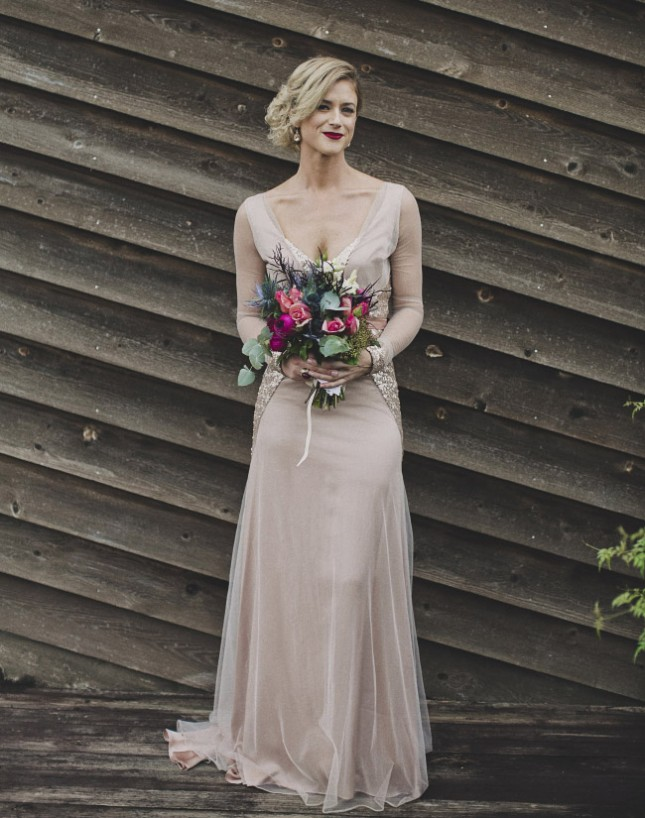 20 long sleeved wedding dresses brit co for Long sleeve blush wedding dress
