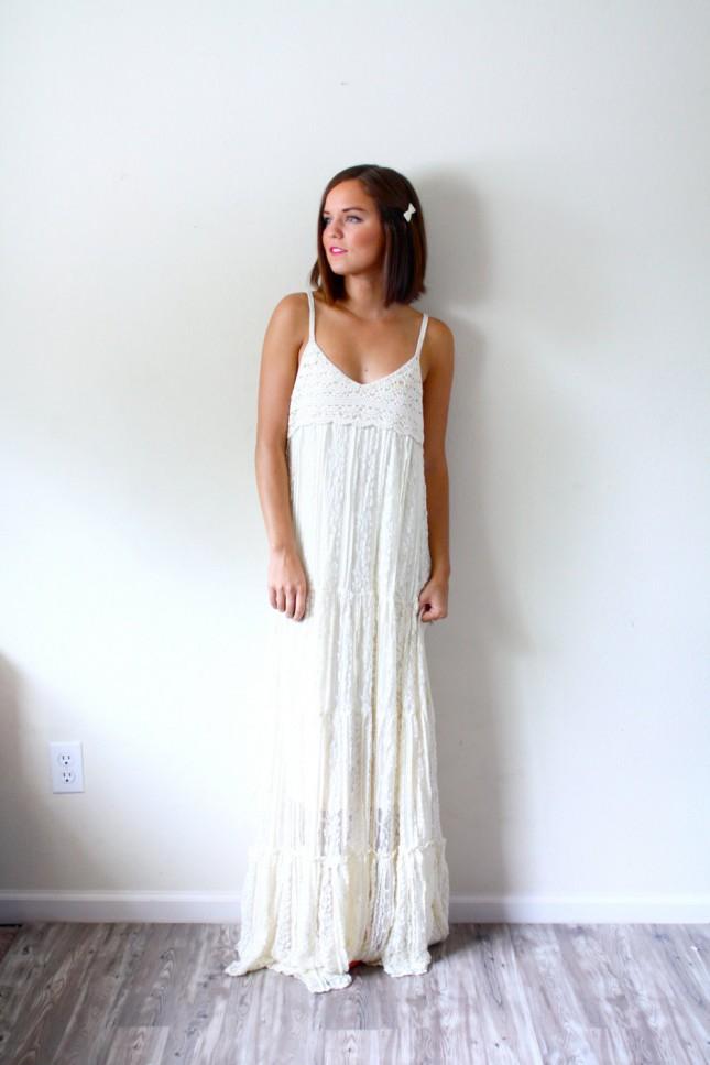 Wedding dress 220 this textured crochet dress has a simple yet