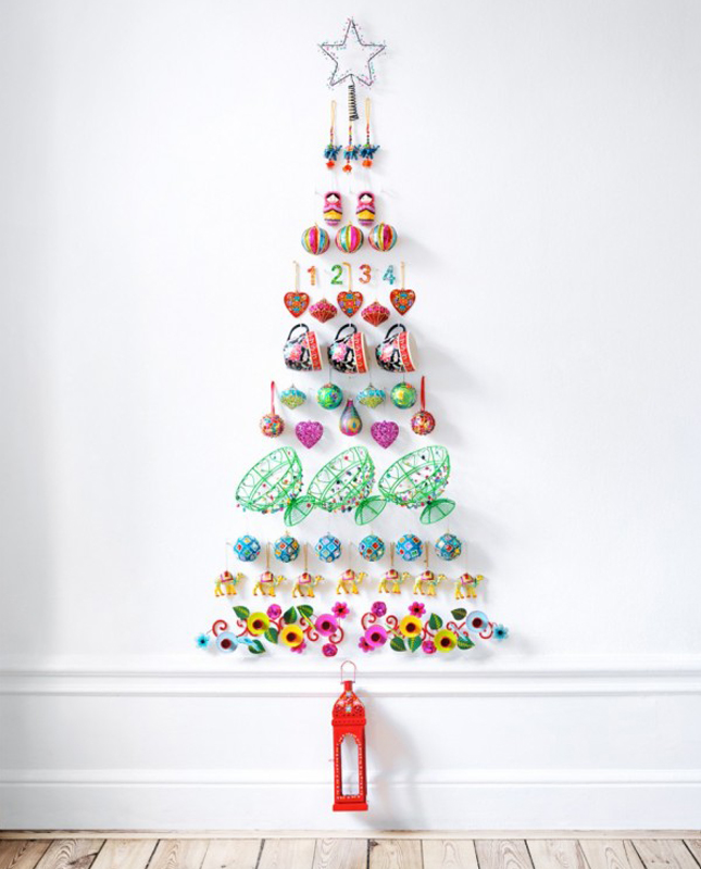 17 wall trees for small space living brit co - Diy christmas tree on wall ...