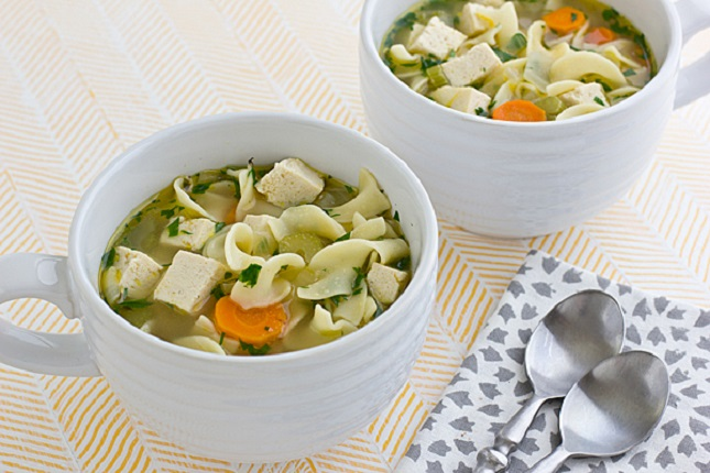 Vegetarian Chicken Noodle Soup : Chicken noodle soup practically ...