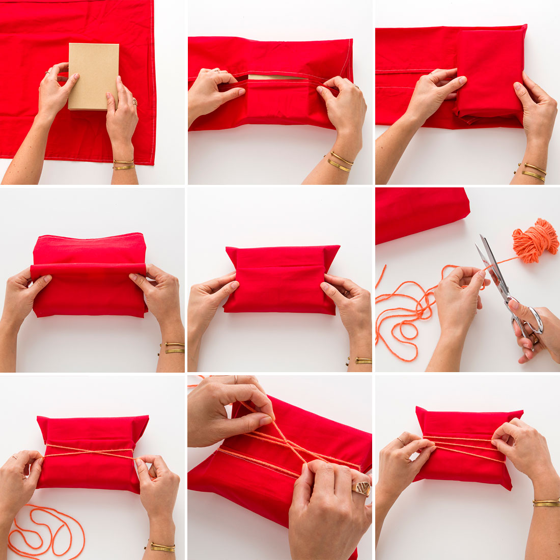 Here are some fun un-gift combinations to wrap up in kitchen towels. Larger items can be wrapped in small tablecloths. If your recipient is a sewer, a square of vintage cloth would be a wonderful choice: Combo #1 - For the Chief Bottlewasher • Special dish soap such as Mrs. Meyers • Cute scrubbie, maybe even homemade.