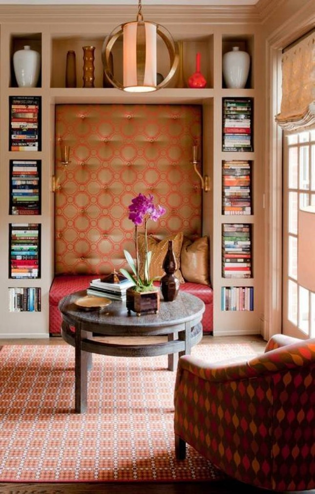 the exotic fabrics of an upholstered reading nook via green muze