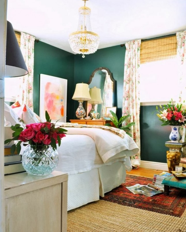 green exotic and glamorous a dark green color in the master bedroom