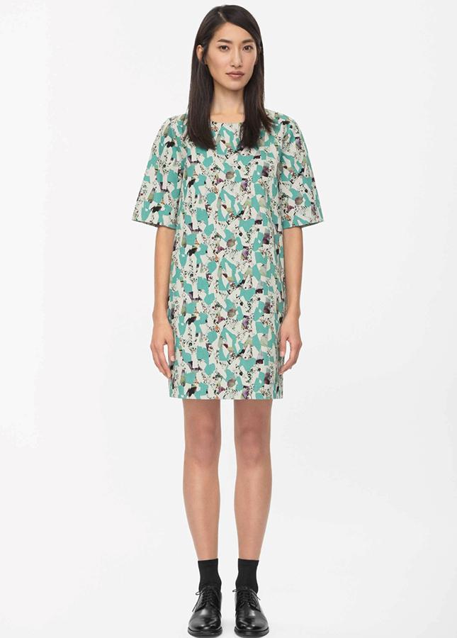 24 cos printed denim dress 125 embrace the denim trend while