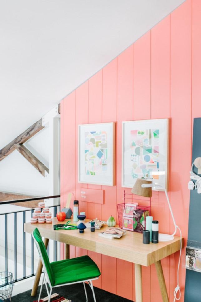 strawberry ice - pink paneled walls