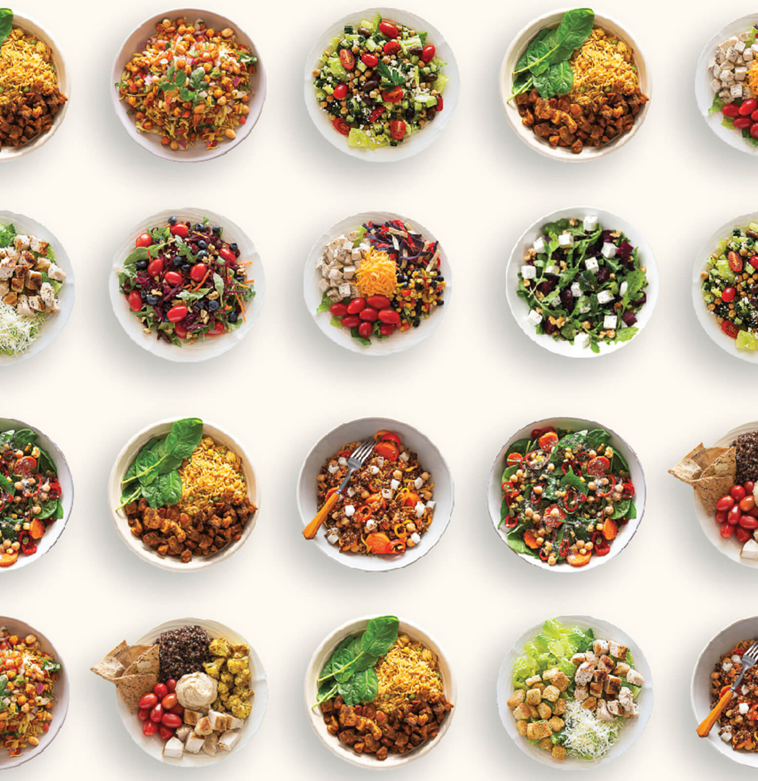 A variety of salads, grain bowls, snacks, pasta bowls, and breakfast bowls.