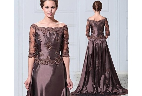 Elegant Coffee Floor-length Mother of Bride Dress