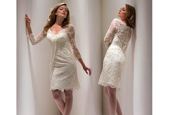 White Knee-length Mother of Bride Dress