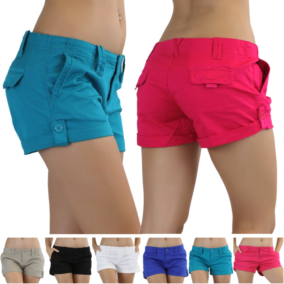 Red Cargo Shorts Womens