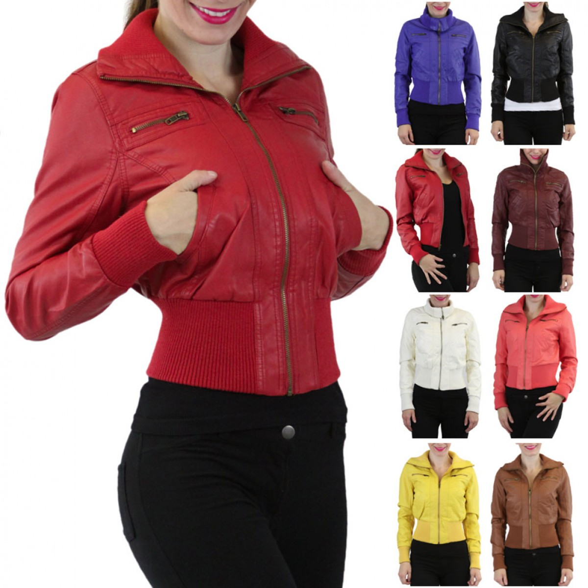 ToBeInStyle Women's Cropped Faux-Leather Bomber Jacket Available ...