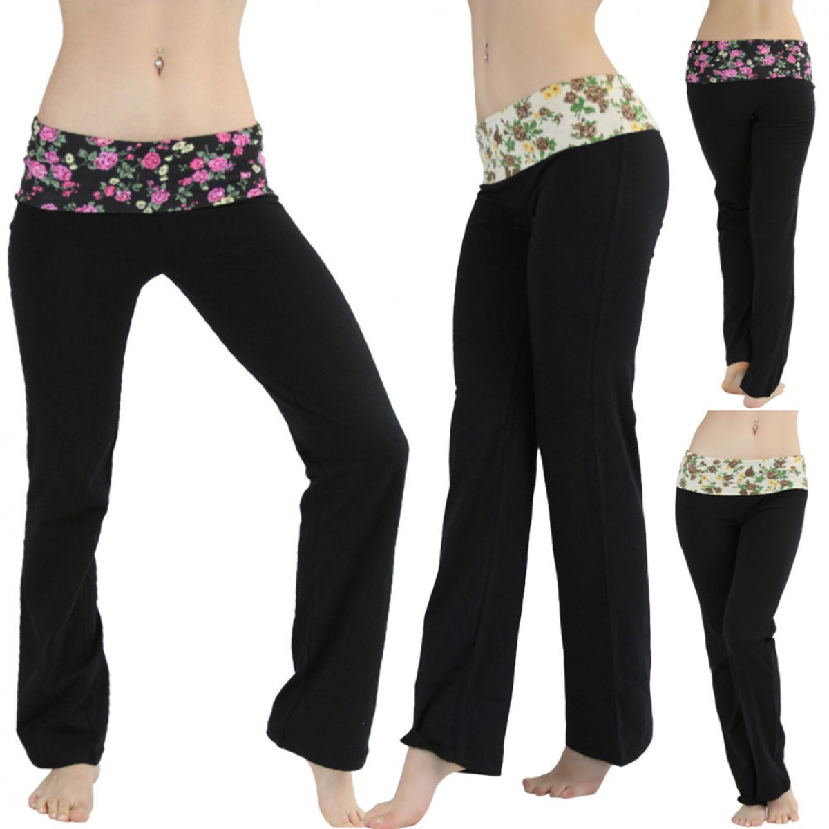 ToBeInStyle Women's Pack of 2 Fold-Over Floral Contrast Waistband ...