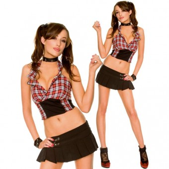 Gothic Plaid Halter Top Buckled Pleated Skirt School Girl Outfit w/ Ankle Socks Halloween Costume Cosplay