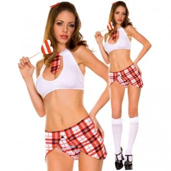Flirty Naughty Vixen Sexy Key Hole Stretch Top w/ Tie w/ Matching Skirt Panty Halloween Costume Cosplay