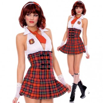 Naughty Cute Sexy Bareback Halter Neck School Girl Dress w/ Tie Gloves Knee Hi Halloween Costume