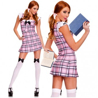 Two Piece Ruffled Sleeves Plaid School Girl Dress w/ Bow Tie w/ Hair Bows Halloween Costume Cosplay