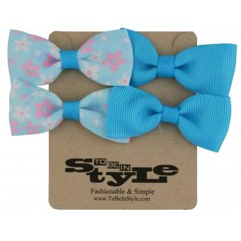 Adorable Blue & Flower Pattern Ribbon Hair Clips