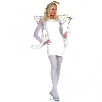Sexy Four Piece Angel Costumes w/ Feather Dress Halo Wings W Costume Cosplay