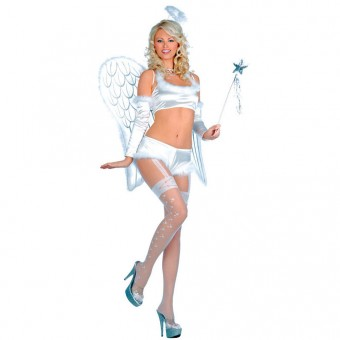 Sexy Five Piece Sexy Angel Costume w/ Halo W Sleeves Costume Cosplay Halloween