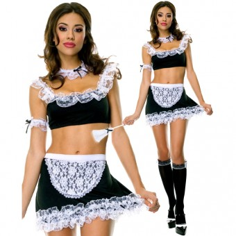 Hot Seductive Six Piece French Maid Outfit w/ Feather Duster Costume Cosplay Halloween