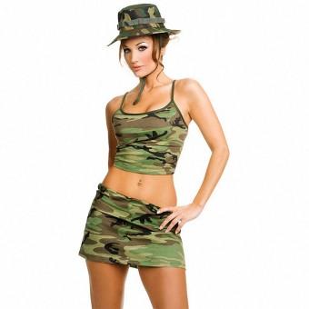 Hot Vixen Three Piece Camouflage Skit Set Including Hat Costume Cosplay Halloween