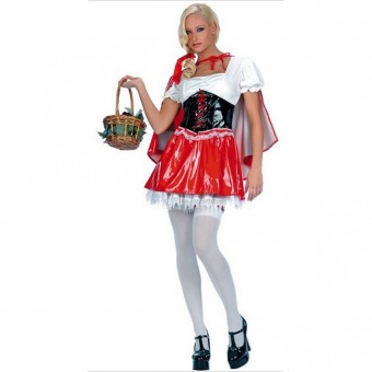Sexy Cute Flirty Two Piece Vinyl Red Riding Hood w/ Hood Halloween Costume Cosplay