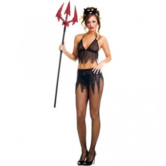Naughty Sexy Flirty Three Piece Black Devil Outfit Costume Cosplay Halloween