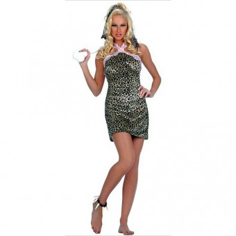 Fun Sexy Flirty Cave Woman Leopard Print Dress w/ Accessories Outfit Costume Cosplay