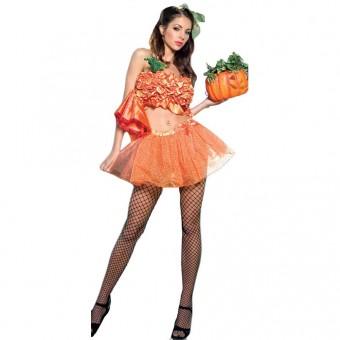 Fun Flirty Playful Sexy Two Piece Pumpkin Princess Costume Cosplay Halloween