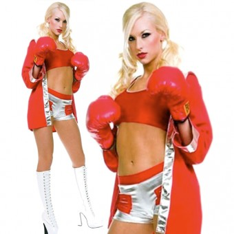 Sexy Fun Boxing Mini Shorts Set w/ Hooded Jacket Halloween Costume Cosplay