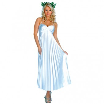 Seductive Classic Satin Pleated Greek Roman Goddess Long Gown Costume Cosplay