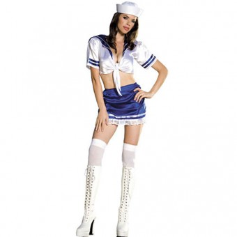 Sexy Naughty Flirty Two Piece Navy Outfit Halloween Costume Cosplay