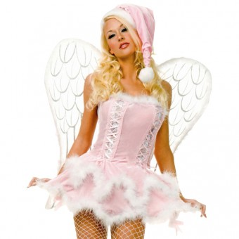 Sexy Flirty Exotic Pink Velvet Miss Santa Dress w/ Hat Costume Cosplay Halloween