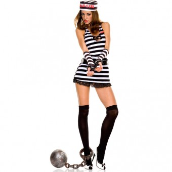 Sexy Naughty Seductive Five Piece Halter Neck w/ Lace Trim Jail Dress w/ Hat Arm Warmer Belt Thigh Hi