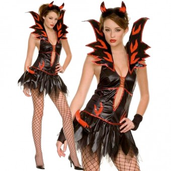 Naughty Sexy Flirty Flared Collar Fire Devil Including Horn Costume Cosplay Halloween