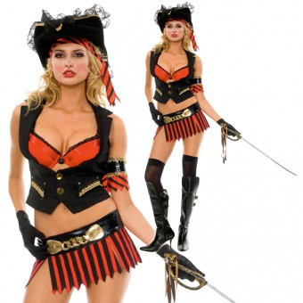 Fun Flirty Sexy Scurvy Pirates Costume Including Head Scarf Arm Band Gloves Costume Cosplay Halloween