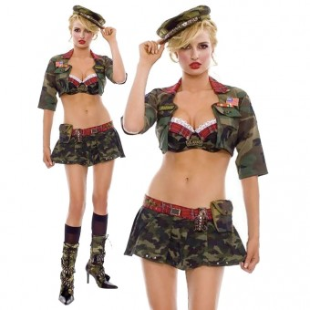 Hot Vixen Sexy Military Girl Outfit w/ Hat Pouch Grenade Costume Cosplay Halloween