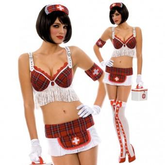 Sexy Nurse Costume w/ Head Piece Arm Band Gloves Handbag Costume Cosplay Halloween