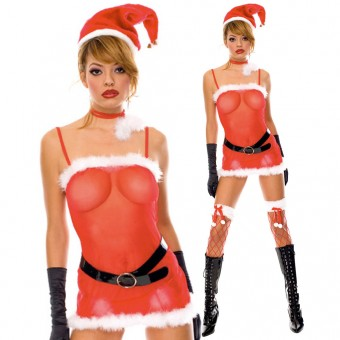 Fun Sexy Christmas Miss Santa Outfit w/ Hat Gloves Belt Neck Piece Costume Cosplay