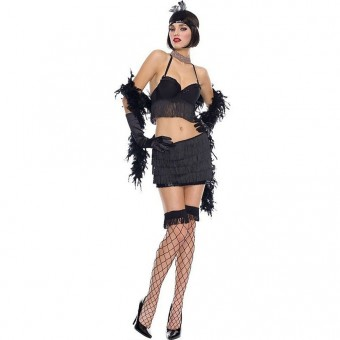 Sexy Classic Vixen Dapper 1920s Costume w/ Head Piece Boa Gloves Costumee Cosplay