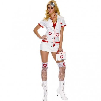 Queen Size Sexy Nurse Outfit w/ Stethoscope Head Lamp Stockings Costume Cosplay Halloween