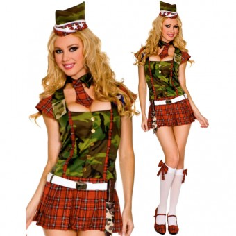 Hot Vixen Camouflage Tartan Recruit Dress w/ Hat Neck Tie Garrison Belt Knife Costume Cosplay Halloween
