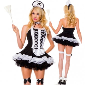 Halter Neck Maid Outfit w/ Lace Up Details w/ Multi Layered Lace Ruffle Trim w/ Head Piece Choker Duster