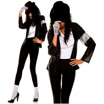 Six Piece Sequined Jacket Tank Top Tights w/ Hat Sequined Glove Knee Hi Costume Cosplay Halloween