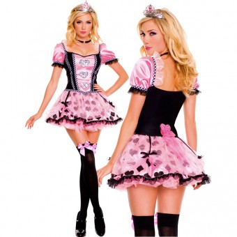 Sexy Flirty Three Piece Pink Couture Queen Of Heart w/ Organza Skirt w/ Tiara Choker Costume