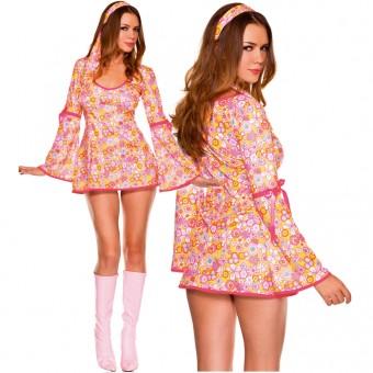 Sexy Flirty 70s Style Sexy Flirty 70s Style Two Piece Floral Long Sleeves Disco Dress w/ Headband