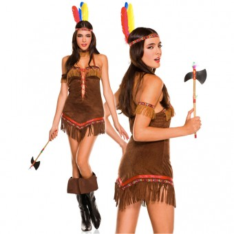 Flirty Sexy Five Piece Sexy Native American Princess w/ Head Piece Choker Tomahawk